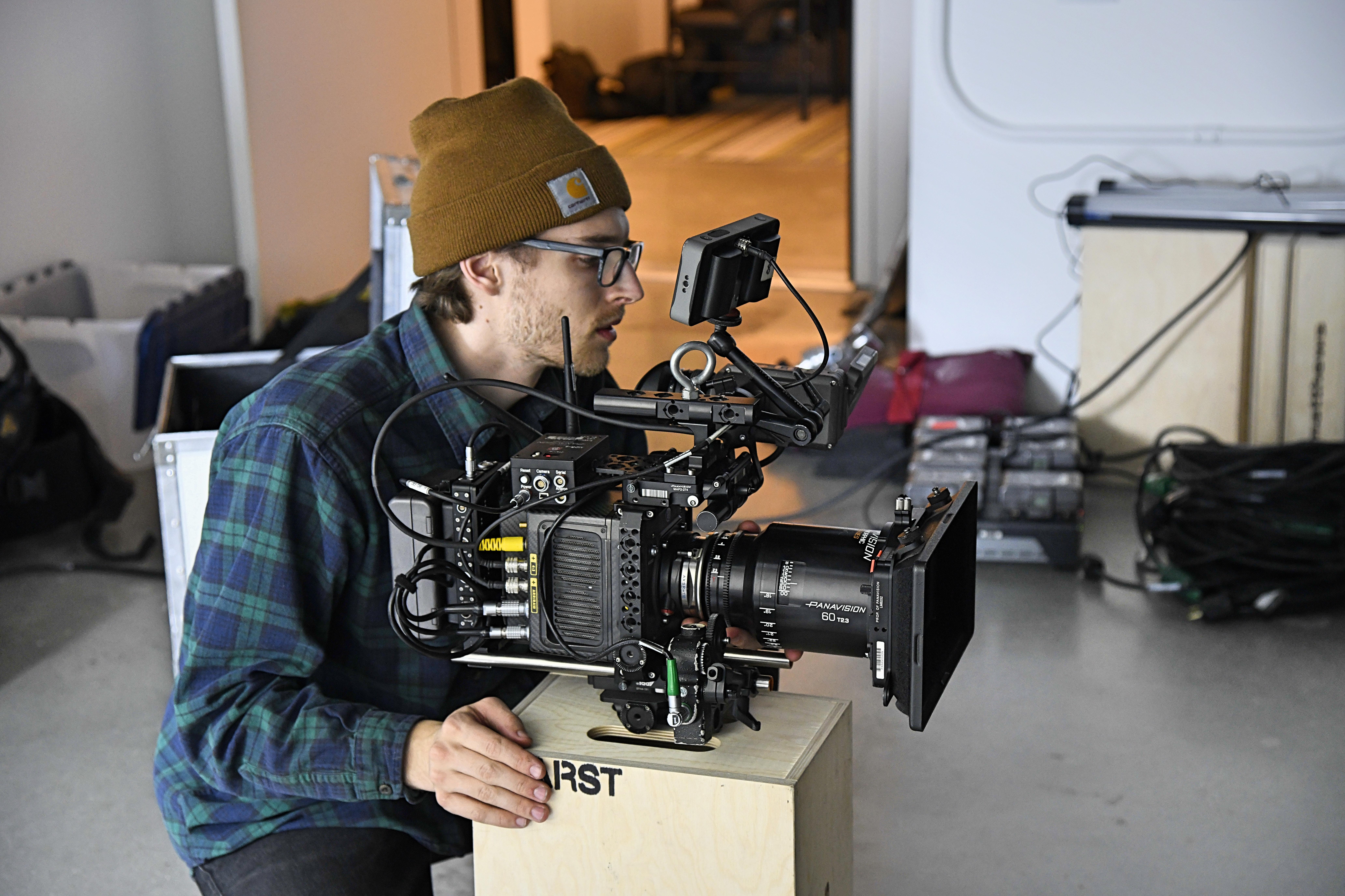 cinematographer setting up